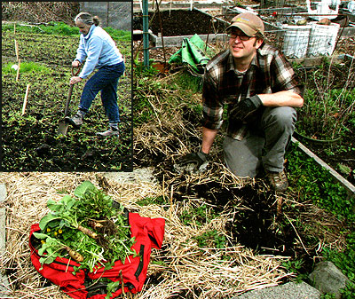 Picardo gardeners till the soil on opening day - Photo by Larry Neilson