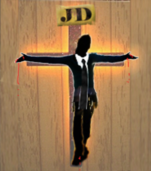 Lawyer crucified on wall icon