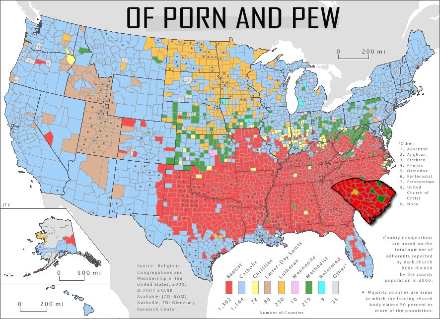 Map Of US Religious Affiliation By County Religion United Where - Map of religions in us