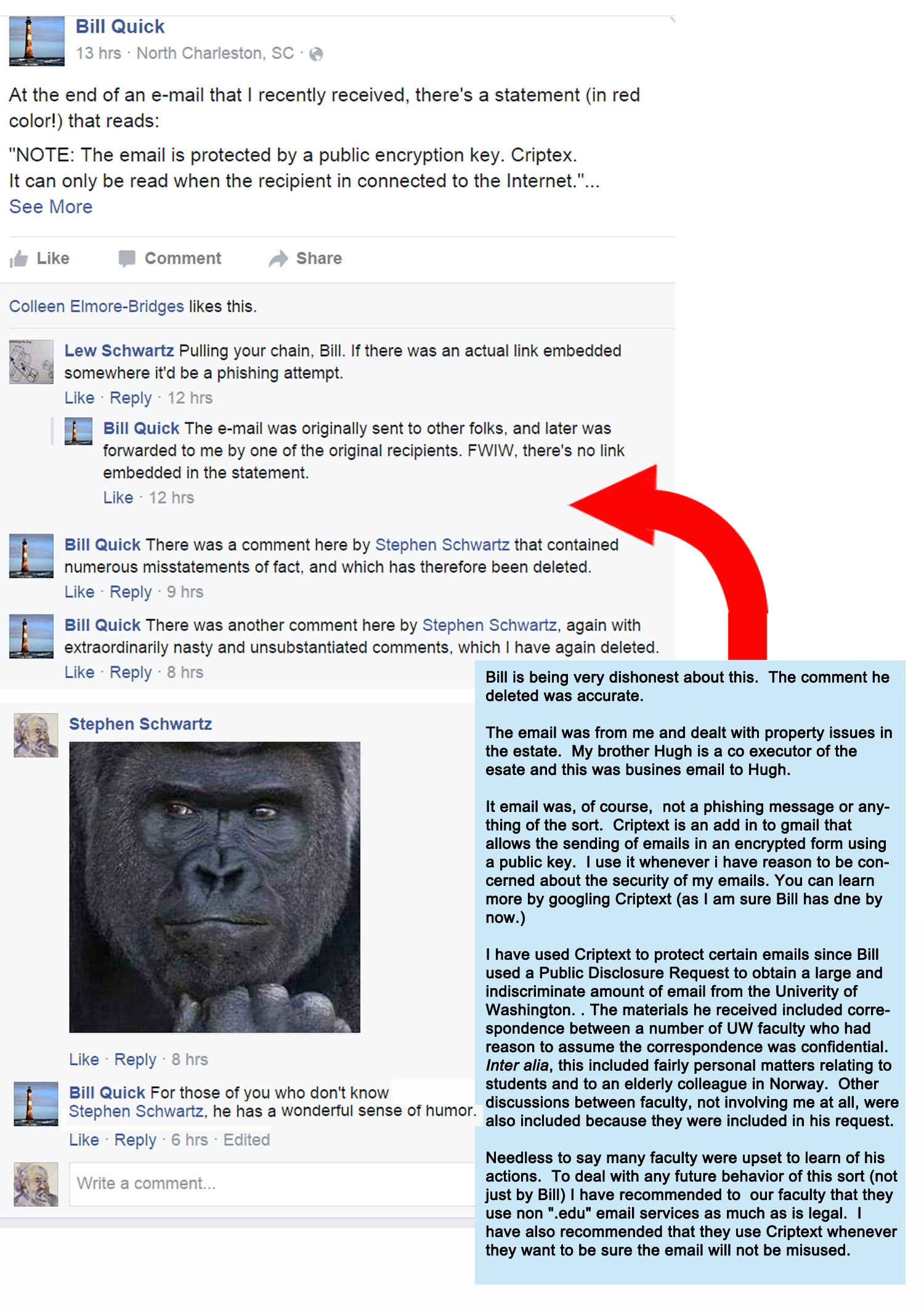 Bill Qick censoring Facebook