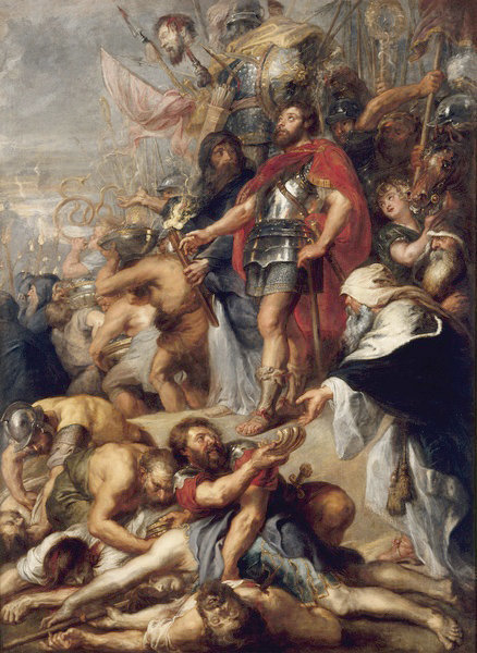 """The Triumph of Judas Maccabeus,"" painted by Peter Paul Rubens in 1635, depicts Judah the Maccabee's victory in battle."