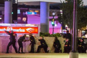 Dallas Police respond after shots were fired at a Black Lives Matter rally in downtown Dallas on Thursday, July 7, 2016. Dallas protestors rallied in the aftermath of the killing of Alton Sterling by police officers in Baton Rouge, La. and Philando Castile, who was killed by police less than 48 hours later in Minnesota. (Smiley N. Pool/The Dallas Morning News) ORG XMIT: TXDAM101