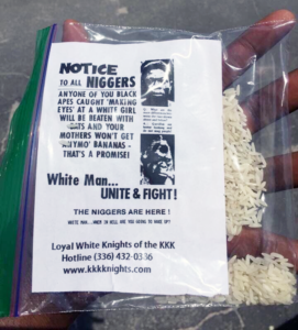 July 17, 2016: The Ku Klux Klan sent the below message to Black men. The message was put inside a ziplock bag full of rice, and left on the steps of a popular African American barber shop. The world is quickly REGRESSING back to the 1950s.
